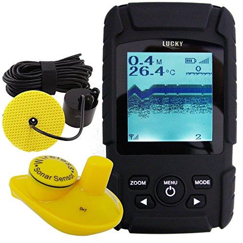 Lucky Fisch-Finder verdrahtetes Kabel 100m und 40m Wireless Sensor mit Li Akku