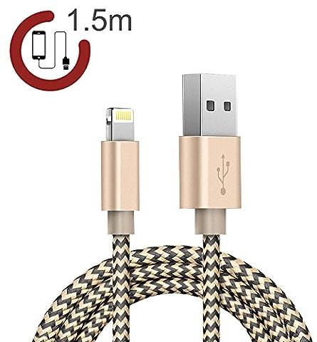 Zeuste Nylon Kabel 1.5m iPhone Ladekabel Verbindungskabel Lightning haltbar Datenkabel für Apple iPhone 6 Plus/6 /5/5S/6s iPad 4 iPad Mini/Air iPod 5 und iPod7 Arbeitet mit neuesten iOS-Update (GOLD)