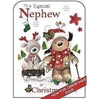 Nephew Christmas Card - (JJ-XFP48) - Fudge Dog & Reindeer - Flittered Finish