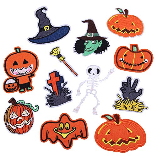 Aufnäher zum Aufbügeln für Halloween, Skelett, Mantel, Kürbis-Aufkleber für Hüte, Schuhtaschen, Jeans, Mäntel, Nähen und Kleidung