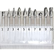 Fu 10 piezas de fresas de carburo de tungsteno SMO 10 pec 0,32 cm filo para Dremel herramientas para taladrar madera grabado de trinchar DIY