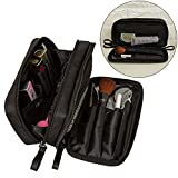 MLMSY Makeup Bags Nylon Cosmetic Bag Waterproof 2 Layer Small Makeup Pouch for Women Makeup Brushes Organizer Toiletry Storage Bag (black)