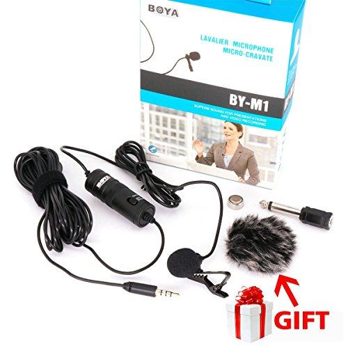 BOYA BY-M1 3.5mm Microfono condensatore Lavalier con parabrezza AriMic per iPhone 7 Plus Smartphone Dslr registratore videocamere
