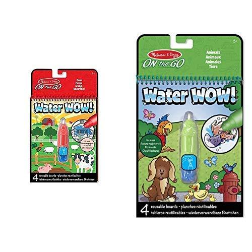 Melissa & Doug 19232 On The Go-Reise-Water Wow Wasserstift-MalblockPunkte verbinden, Verborgenes enthüllen &  & Doug 15376 Malblock-Enthüllung mit Wasser-Tiere, Mehrfarben -
