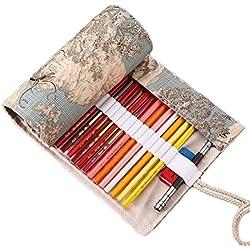 Vianber Lona de Colores Lápiz Wrap Bag Travel Lápices Portátiles Funda de la Bolsa Sostener Para el Artista Estudiantes Suministros (36 Agujeros)