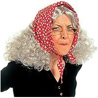 NET TOYS Parrucca da strega chioma da nonna con foulard vecchietta  travestimento signora anziana per carnevale 14ec115a0fdf