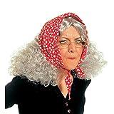 NET TOYS Hexen Perücke Omaperücke mit Kopftuch Oma Hexe Fasching Karneval Alte Dame Frau