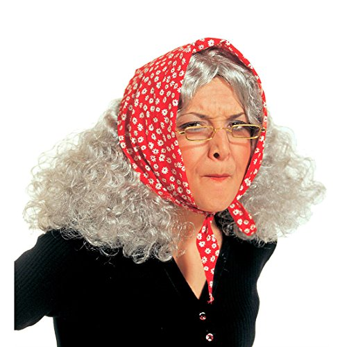 Hexen Perücke Omaperücke mit Kopftuch Oma Hexe Fasching Karneval Alte Dame Frau