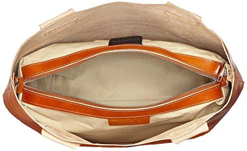 CTM Borsa da Donna a Mano e Spalla, 44x30x13cm, Vera Pelle 100% Made in Italy Cuoio