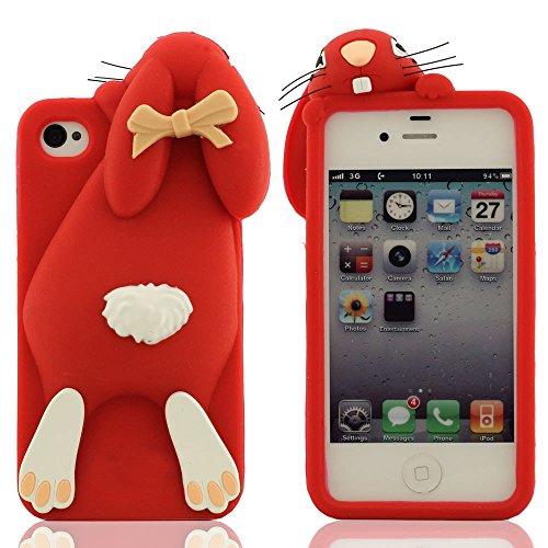 Karikatur Stil 3D Hase Modellieren Silikon Hülle Handy Tasche Schutzhülle für iPhone 4 / iPhone 4S / iPhone 4G, Bunt Weiche & Elastic Prämie Silikon Cover Case Rot