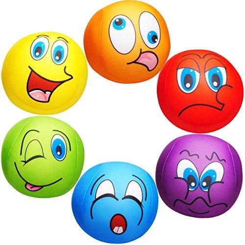 alles-meine.de GmbH 1 Stück _ große Knautschkissen / Stoffball / Knautschball -  lustiges Gesicht - BUNT  - 18 cm - Softball - Emoticon Ball / Zenball - Plüschtier - mit Mikrop..