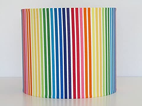 Handmade Multi Coloured Rainbow Candy Stripe Fabric Drum Lampshade Lightshade