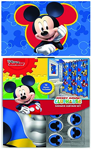 Disney & Marvel New 13Teile Set (Duschvorhang mit Haken) Oder 14Set (Dusche Vorhang Set mit Bad Memory Schaumstoff Matte) 14pcs Set - Shower Curtain Set & Memory Mat Micky Maus