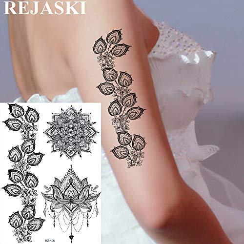 warz Lotus Temporäre Tattoos Aufkleber Mandala Blume Ketten Kunst Benutzerdefinierte Tattoo Für Frauen Waschbar Tatoos ()