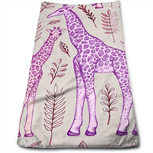Liumiang Handtuch Exotic Cotton Giraffes in Pink and Purple Dish Towels,Oversized Kitchen Towels for Drying,Cleaning,Cooking, r\\n Baking 30 X 70CM/12 X 27.5 in