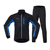 Lixada Cycling Clothing Set,Men Winter Cycling Clothing Set Long Sleeve Windproof Bicycle Jersey with Pants Outdoor Cycling Running Sports Jacket Activewear