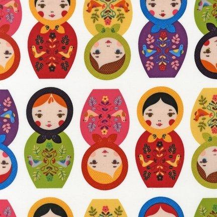 Robert Kaufman RK019 Matrjoschka Puppen, 50 x 110 cm, 100% Baumwolle -