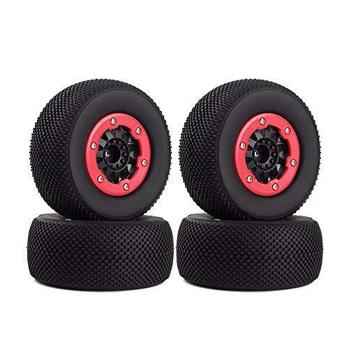 INJORA RC Reifen Set mit Felgen 4Pcs Tires mit Räder für 1/10 RC Short-Course Truck Car TRAXXAS SLASH HPI HoBao HuanQi 727