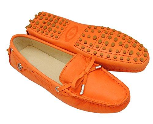 Minitoo tyb960–10da donna in pelle nubuck Slip-on scarpe casual barca Ballet Flats Loafer Moccasins Orange