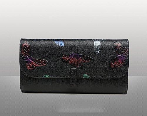 Sacchetto di mano, sacchetto di mano femminile, cartella di grande capacità di cuoio di tendenza di modo, pacchetto di pranzo di banchetto ( Colore : Arancia ) Nero