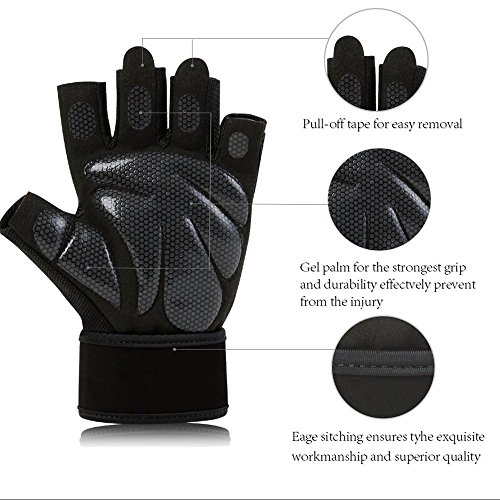 Padded Black Fingerless – Weight Lifting Gloves