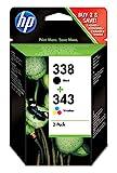 HP 338/343 Lot de 2 Cartouches d'Encre Noir et Trois Couleurs (SD449EE)