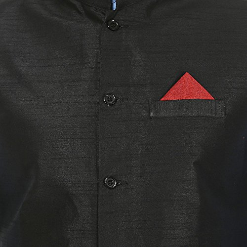 Maple Clothing Hommes Manches Moins Silk Nehru Jacket Inde Waistcoat Noir