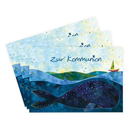 3er Set Karten zur Kommunion 'Motiv Wal', Glückwunschkarten, Boot auf Meer mit Wal, Glückwunsch, Kommunionkarten, Einladung, Danksagung, Danke, edel, blau, schiff