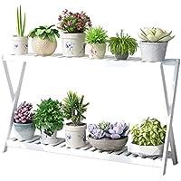 Bandeja para plantas con estante para macetas de flores de dos capas/expositor para plantas estable y resistente de interior/estante de almacenamiento multifunción/soporte para flores