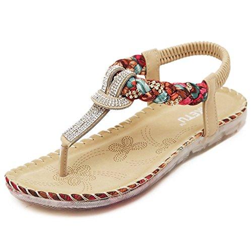 Minetom Femmes Fille Été Des Sandales Bohémien Style Rhinestone Tongs Talon Plat Chaussons Chaussures Abricot