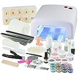 UV Gel Nagelstudio Starter Set - optimaler Einstieg in das eigene Nageldesign mit dem Nagelset dank viel Nailart, UV Lampe und Farbgel Set Soft Nudes (weiß)
