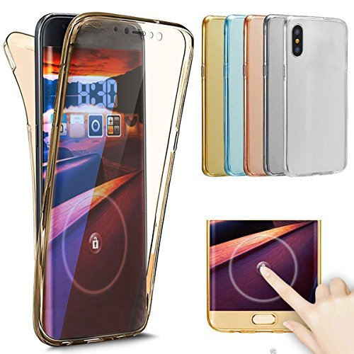 iPhone X Coque TPU Full Body,iPhone X Case Crystal Clear,Hpory Beau élégant Luxury [Full Body] [Tactile 360 Degrés] Ultra Thin Transparent Soft TPU Gel Silicone Cristal Clair Etui Housse de Protection Gold