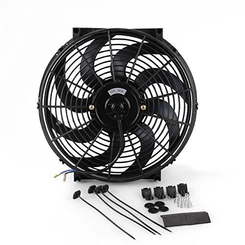Auto Fan 12 V, Auto Kühlerlüfter Auto Wasser Ölkühler DC12V 90 Watt Pull / Push Bend Black Blade Elektrische Kühlung Kühlerlüfter Für Auto Kart Buggy Motorrad Universal 14 '' Auto Wasser Ölkühler -