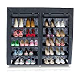 Grinscard XL Schuhschrank - Schwarz ca. 118 x 113 x 30 cm - Stecksystem Regal mit 6 Böden für Schuhe und Kleidung