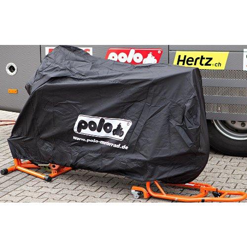 Polo Motorrad-Wetterschutz, Motorrad-Abdeckplane Outdoor Abdeckplane, robust, hitzefest bis 200 °C, Gummizug, lackschonend, Schwarz, Größe M = 225/150 / 96 cm