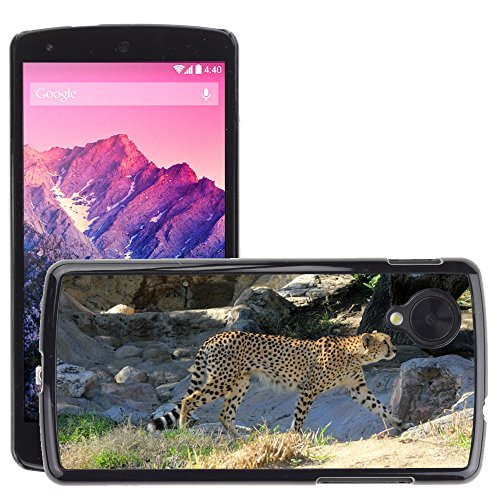 Just Phone Cases Bild Hart Handy Schwarz Schutz Case Cover Schale Etui // M00128864 Cheetah African Predator Gehen // LG Nexus 5 (Gehen Cheetah)