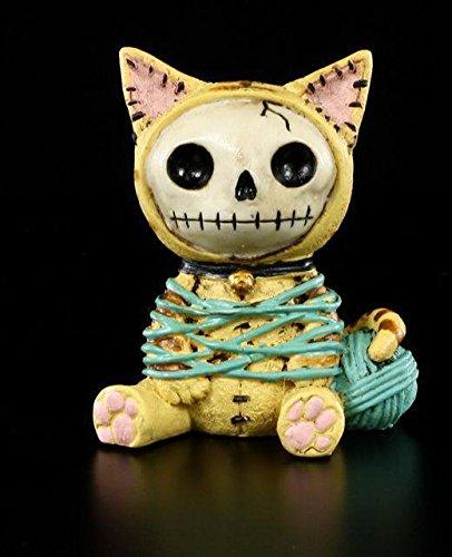 Furrybones Figur | Katze Mao-Mao mit Wollknäuel | inkl. Geschenkbox für Sammler | Lustige Deko Totenkopf Gesicht