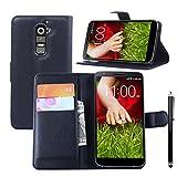 Owbb® Flip Housse Étui Coque de protection en PU cuir pour LG G2 (5.2 pouce) Smartphone - Noir + Un stylet comme un don gratuit...