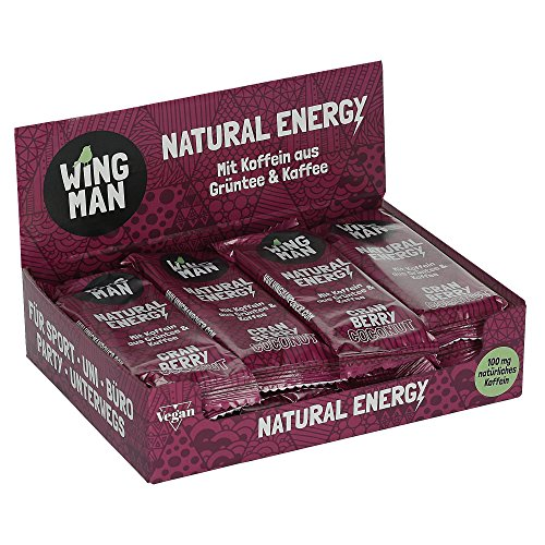 WINGMAN Natural Energy - Riegel (Cranberry Coconut-Geschmack, 16 Riegel) | Vegan & Fitness Booster | Energieriegel mit Koffein