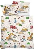 Kinderbettwäsche 100 x 135 Junge Biberna Bettwäsche Bunt Fein-Biber Baumwolle Bettbezug und Kissenbezug Set Motiv Baustelle Bagger Kinderzimmer Kinderbettgröße