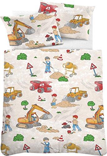 Kinderbettwäsche 135 x 200 Junge Biberna Bettwäsche Bunt Fein-Biber Baumwolle Bettbezug und Kissenbezug Set Motiv Baustelle Bagger Kinderzimmer Kinderbettgröße …