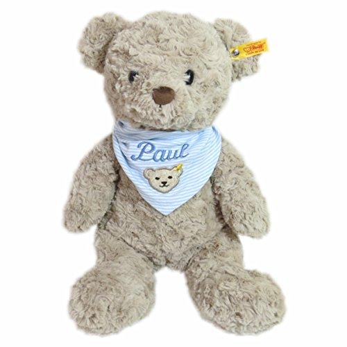Steiff Honey Teddybär mit Wunschnamen auf Steiff Collection Halstuch Gr. II hellblau bestickt 38 cm 113437 + 6600 Soft Cuddly Friends