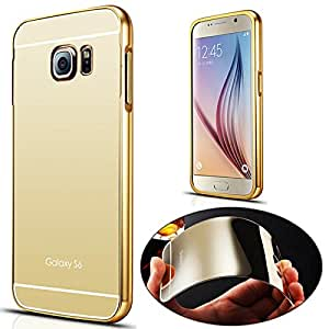 Fonixa Luxury metal bumper and Mirror back cover for Samsung Galaxy S6 Edge Gold