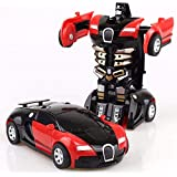 Gentoo Toys Small Friction Car 2 in 1 Feature Car Converting to Robot, Robot to Car Automatically,Deformation Toy,Plastic Vehicles Boys Toy Model Cars for Kids Baby Gift (Colors May Vary)