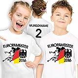Deutschland Kinder Handball Meister-Shirt personalisiert mit eigener Rückennummer und Wunschname Gr. 116