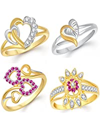 VK Jewels Gold And Rhodium Plated Alloy Ring Combo Set For Women & Girls- COMBO1403G [VKCOMBO1403G]