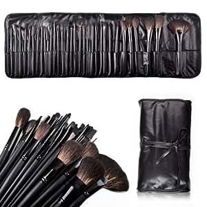 HOUSWEETY 32PCs Makeup Brush Set Eyeshadow Eyebrow Blush Lip Brush + Black Pouch Bag