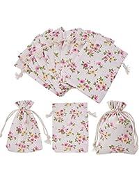 PandaHall Elite Lote de 30 pcs Bolsas Estampadas de Embalaje de Arpillera, Bolsas de Cordón, Colorida, 10x14cm