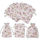PandaHall Elite - Lot de 30pcs Pochettes Sachets d'emballage en Tissu Imprimé de Fleur Pochettes/Sachets en Lin/Chanvre avec Cordon, Couleur Melangee, 10x14cm