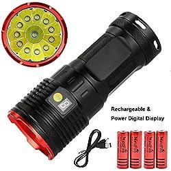 lampe torche led 12000 lumens, lampe de poche rechargeable super puissante 12 x XML T6 LED avec affichage numérique de la puissance et 4 piles x pour la maison et l'extérieur